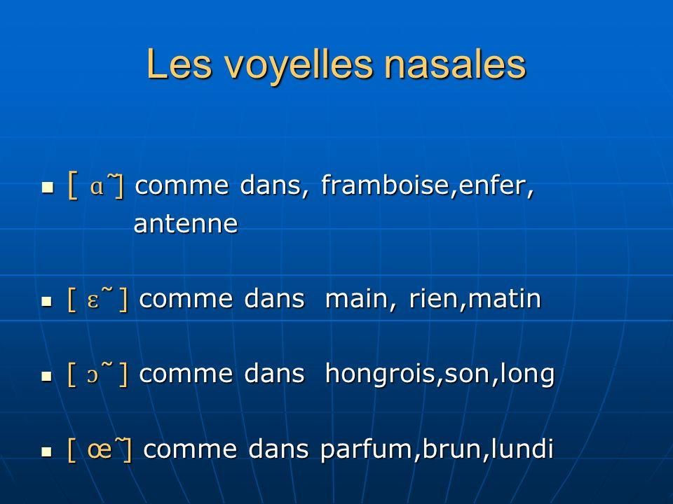 Les voyelles nasales [ ɑ̃ ] comme dans, framboise,enfer, antenne